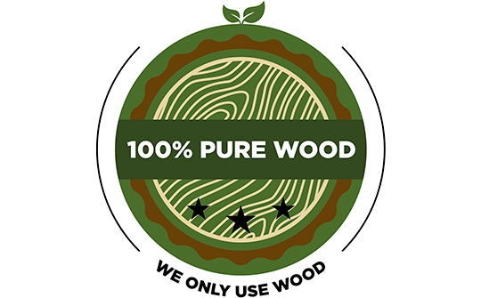 100% Pure Wood label